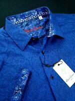 Robert Graham Medallion Paisley Print Short Sleeve Shirt Floral Cuffs 2XL Blue