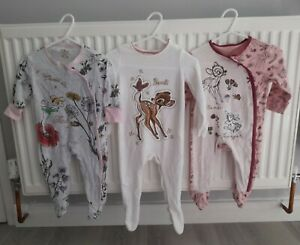 Disney Baby Girl Sleepsuit X3 Age 6-9 Months Bambi & Tinkerbell Used