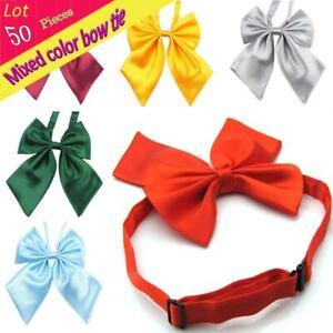 (50 Pcs/Lot) Wholesale Adjustable kid Chrildren Solid Bow Tie Boy Girl Bowknot