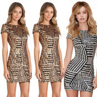 Sexy Women Lady Sequins Bodycon Short Sleeve Clubwear Cocktail Party Mini Dress