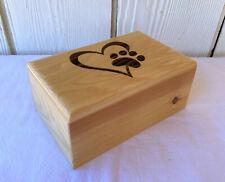 Large White Cedar Wood Pet Cremation Urn - Engraved Heart Paw Print