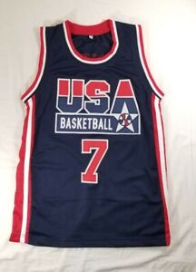 Larry Bird Team USA Basketball Jersey Blue/Red/White Men's Size Small