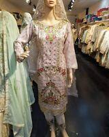 Indian Pakistani Shalwar Kameez Salwar Suit Wedding Designer Agha Noor Nude Pink