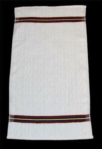 VTG Westpoint Ambassador Cable White w/Burgundy/Yel/Nvy Stripes Thick HAND Towel
