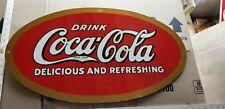 VINTAGE Oval Drink Coca Cola Sign 1950s repro METAL SIGN