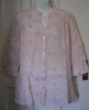 WOMENS COTTON TRADERS PINK EMBROIDERED BUTTONS COTTON SHIRT SIZE:12/40 (WT130)