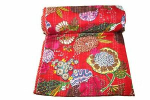 Indian Kantha Quilt Cotton Floral Coverlet Handmade Throw Bed Cover Blanket