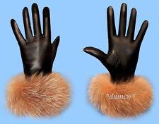 NEW WOMENS size 8 CRYSTAL FOX FUR TRIM BLACK LEATHER GLOVES