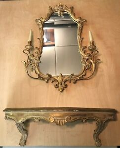 Vintage French Style Two Piece Wall Console & Mirror , No Reserve