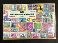 "Vintage Harris Stamp Packet ""65 Malaya and Malaysia"" Used Stamps C-920"