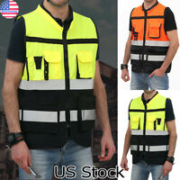 High Visibility Night Reflective Waistcoat Hi Vis Safety Vest Jacket W/ Pockets