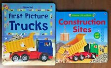 Lot 2 USBORNE Boys Board Truck books CONSTRUCTION SiTES & First Picture Trucks