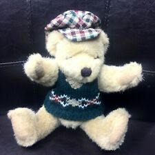 "Teddy Bear 10"" Jointed Tan w/ Green Oxford Sweater & Plaid Flat Cap Collectible"