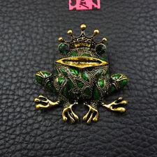 Hot Rhinestone Crown Frog Green Animal Betsey Johnson Charm Brooch Pin Gift