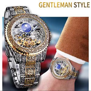 Forsining Tourbillon Men Skeleton Moon Phase Steel Strap Mechanical Watch Luxury