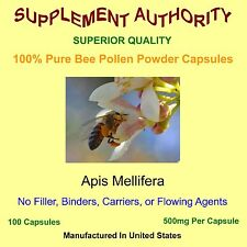 100% Bee Pollen 500mg PER CAPSULE NOT SERVING!  NO Rice Flower and Silica! PURE!