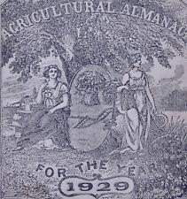 Agriculture Almanac Lancaster PA Farming 1929 Antique Vintage A