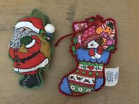 Vintage Hallmark Fabric Ornaments Toys Stocking Santa Two Sided