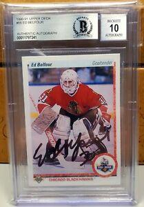 Ed Belfour Signed 1990-91 Upper Deck Star RC Rookie Chicago Blackhawks BAS Auto