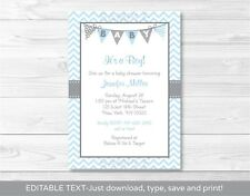 Modern Baby Blue Chevron Printable Baby Shower Invitation Editable PDF