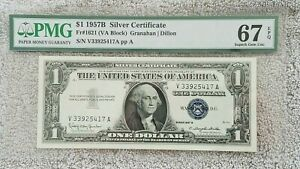 PMG Certified $1 1957B Silver Certificate - Fr#1621 (VA Block) 67 EPQ