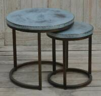 Nest of Two Side Tables - Round - Zinc Style Metal Tops - Industrial