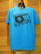 Crew Neck T-Shirt, Mischief & Mayhem Mix, Music Tape, Blue, Mens XL