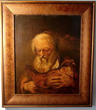 Barock Portrait bärtiger Mann mit Huhn Öl Holz Städt. Museum Aachen