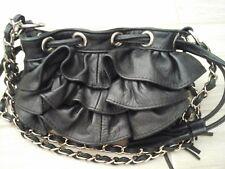 Adrienne Vittadini Solid Black Ruffled Genuine Leather Handbag  Size 7.5x5.5x2.5