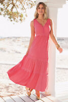 Coral Pink Crinkled Viscose Ankle Skimming Summer Maxi Dress size 14/16