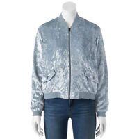 Women's Cloud Chaser Velvet Bomber Jacket -  Black Blue Gray Pink [MSRP $58.00]