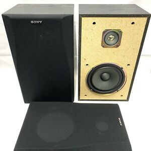 SONY 2-Way Bookshelf Speakers - Gold Tweeter Domes - Tested & Working FREE POST