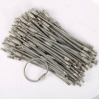 """100PCS 4"""" 10cm Stainless Steel Wire Cable Keychain Key Chains Rings Bulk US"""