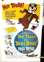 poster on linen HEY THERE It's YOGI BEAR 1964 USA1sht LinenBacked HANNA& BARBERA