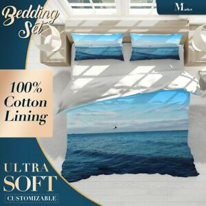 Bird Waves Beach Wave Blue Quilt Doona Cover Sets Fine Breathable Cotton