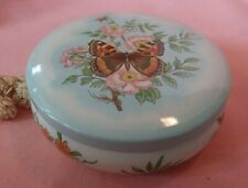 Vintage Daher Round Metal Butterfly & Flowers Tin w/ Lid  Made In England