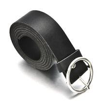 New Women Ladies Waist Belt Simple PU Leather Metal Round Buckle Waistband Strap