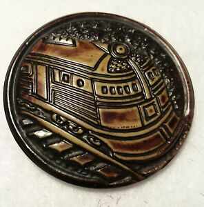 """Vintage Celluloid Train Button, 1 3/4"""""""