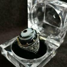 Natural Yemeni Solaimani Agate Silver Ring, Hakik, Aqeeq خاتم عقيق يماني سليماني