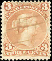 1868 Used Canada F Scott #25 3c Large Queen Issue Stamp
