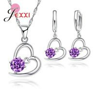 925 Sterling Silver Purple Crystal CZ Heart Pendant Necklace and Earring Set UK