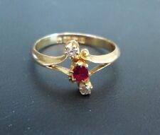Edwardian 18ct Gold Dainty Ruby and Diamond 3 stone Ring