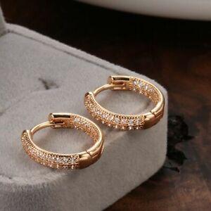 Charm Crystal Huggie Hoop Earrings 925 Sterling Silver Plated Jewellery Gift UK