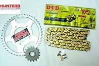 Kawasaki KLE650 Versys 2006 to 2016 DID Gold X-Ring Chain & JT Sprockets Kit Set
