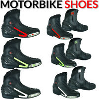 Mens Sports Racing Boots Motorbike/Motorcycle Waterproof Shoes Leather Armour CE