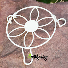 White Vintage Flower design Wrought Iron Garden Planter Stand Base 16cm diameter