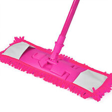 Extendable Microfibre MOP Cleaner Sweeper Wooden Laminate Tile Floor Wet Dry UK Hot Pink