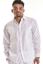 Mens Bohio 100% Pure Linen White Paisley Embroidered L/S Shirt (S ~ 4XL)- MLS750