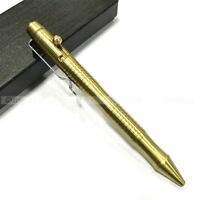Bolt Type Handmade Brass Pen Tactical Brass Copper Gel Pen With Stainless Holder