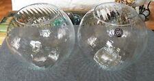 "New listing 2 Large Swirl Glass Fish Bowl Terrarium Fairy Garden Clear Round 9"" Diameter"